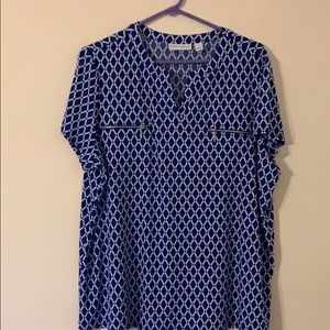 Blue and White Checkered Blouse